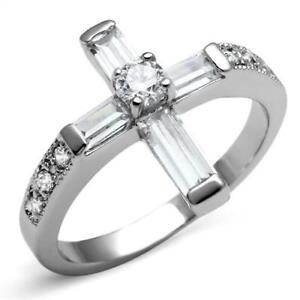 Ladies cross ring stainless steel cz cubic zirconia emerald cut silver new sz p