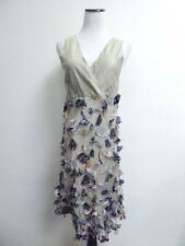 NEW CHAN LUU COTTON SILK V NECK DRESS EMBELLISHED FAUX WRAP FIT & FLARE M