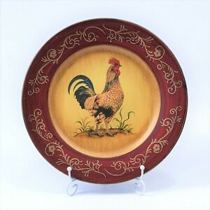 Farmhouse Rustic Rooster Red Decorative Plate Dish Wall Hanging Ceramic Country