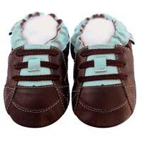 Littleoneshoes(Jinwood) Soft Sole Leather Baby Shoes SkateboardBrownBlue 12-18M