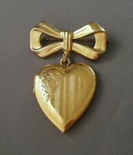 Vintage Gold Vermeil Sterling Silver Etched Heart Locket Bow Brooch Pin NOS 6.9g