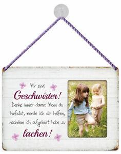 Fotogeschenk Blechschild 25x18 Kult Hänger Rahmen Geschwister Schwester Bruder
