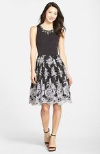 ELIZA J EMBELLISHED BLACK/WHITE LACE FIT & FLARE  DRESS sz  2