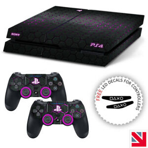 Futuristic Hexagon Pattern Purple PS4 Skin Decal Vinyl Sticker Wrap