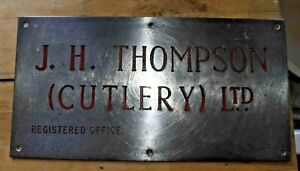 Vintage 1960s Factory steel sign - J H Thompson (Cutlery)