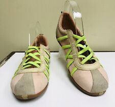 Diesel Old Stock Deadstock Peach Leather Green Stripes Comfort Walking Shoes 8.5