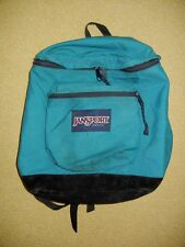 Vtg JANSPORT Teal/Black Suede Leather TOP ZIP BACKPACK Hiking Camping School Bag