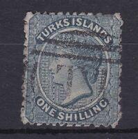 BC219) Turks & Caicos Islands 1867 QV 1/- Dull blue SG 3, nibbled perf at top