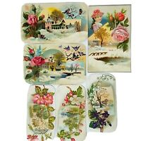 Victorian Scrap 1880s French Vintage Die Cut 6 PC Pink Flowers Botanical Cards