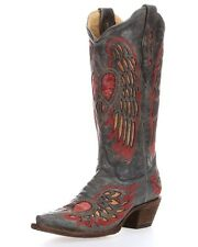 Women's Corral Western Boot Antique Black & Saddle Wing And Heart A1975
