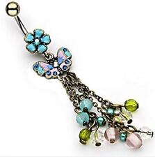 NEW 14gauge Colorful Chic Flower Navel Belly Ring Butterfly & Beads Dangle
