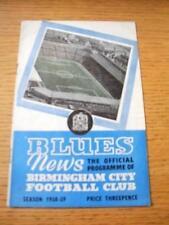 29/09/1958 Birmingham City v Bela Vista [Friendly] (Creased). No obvious faults,