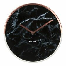 Karlsson Wall Clock Marble Delight Black Face With Copper Surround and Hands