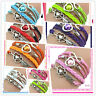 Hot Chic Infinity Love Heart Friendship Antique Silver Leather Charm Bracelet