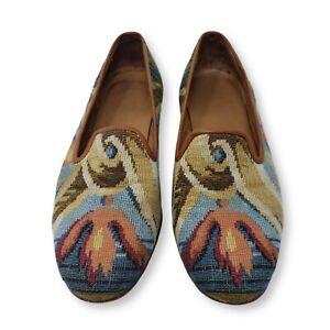Stubbs & Wootton Slippers Rare Pattern Multicolor Handmade Genuine Leather Sz 8½