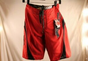 "O'NEILL ""SUPER FREAK"" SWIM/SURF/BOARD SHORTS SOLID RED WITH STRIPE size 28"