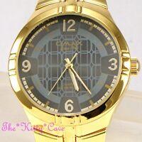 OMAX Designer Waterproof Stainless Steel Gold Pltd Gents Mens Dress Watch HBK811