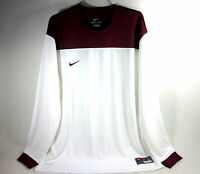 NIKE LONG-SLEEVE SHOOT AROUND II SHIRT WHITE/CARDINAL MEN'S SIZE LARGE IMPORTED