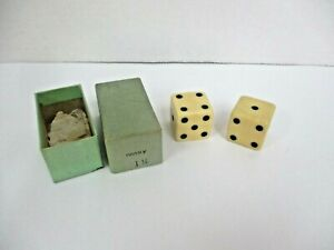 """JUMBO IVORY 1 1/4""""  EXTRA LARGE PAIR PLAY DICE IN THE ORIGINAL BOX"""