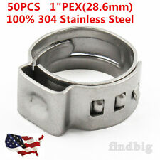 """50pcs 1"""" PEX Stainless Steel Clamp Cinch Ring Crimp Pinch Fitting Tubing"""