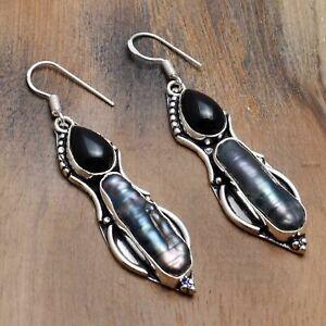 """Biwa Pearl Black Onyx Handmade Drop Dangle Earrings Jewelry 2.32"""" AE 18651"""