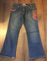 WOMENS JUNIORS MOTO BLUES EMBELLISHED JEANS   SIZE - 11/12