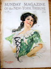 1913 newspaper magazine w COLOR front page engraving IRISH LASS St Patrick's Day
