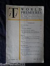 INTERNATIONAL THEATRE INSTITUTE WORLD PREMIER - DEC 1951 VOL 3 #3