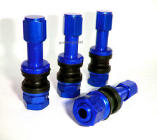 4 X BOLT ON BLUE ALUMINUM TUBE LESS VALVE STEMS WITH DUST CAPS SET