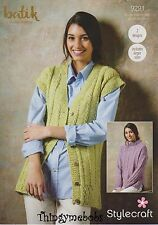 "STYLECRAFT 9291 BATIK DK SWEATER/WAISTCOAT ORIGINAL KNITTING PATTERN - 32""-50"""