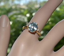 Sparkly Estate Faceted 2.47 cts AQUAMARINE and DIAMONDS 18k RING size 7