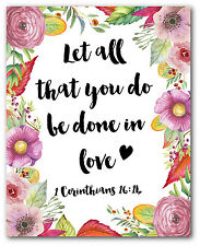 Let All That You Do Be Done In Love Print, Corinthians 16:14 Bible Verse Quote