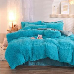 4PCS Winter Velvet Flannel Warm Bedding Set Duvet Cover Sheet Pillowcase All Bed