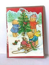 Vtg Current Christmas Card 1989 Accordian style by becky Costumed Animals New