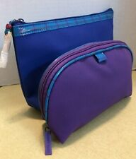Two Estee Lauder Blue and Purple Cosmetic Totes / Bags, NWOT