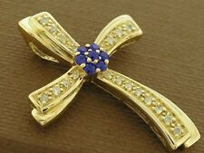 Genuine 9K 9ct Solid Yellow Gold Natural Sapphire & Diamond Cross Pendant Slider