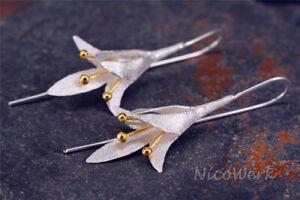 Silber Ohrringe Blumen 925 Damen Ohrhänger Ohrschmuck Schmuck Geschenk Sterling