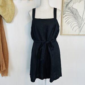 PRINCESS HIGHWAY | Size 14 | Black Linen Blend Strappy Romper Playsuit Waist Tie