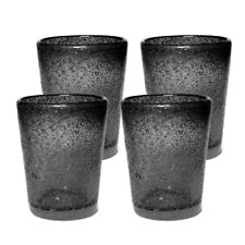 Hand Blown Drinkwware glass, Old fashioned glass, cups for 8 Oz. Black, Set of 4