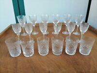 Servizio per 6 persone bicchieri cristallo 1950 acqua vino 18 pezzi incisi