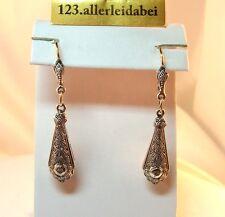 Art Deco Diamant Ohrringe mit 585 er Gold und Silber um 1930 Ohrhänger / BA 660