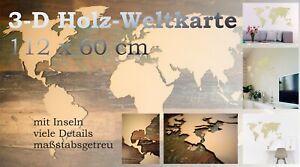 Holz Weltkarte Kontinente + Inselgruppen 112x60 3D Deko Wandbild selbstklebend