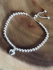 925 Sterling Silver Beaded Heart Slider Bracelet Adjustable