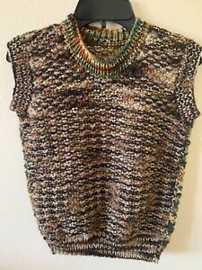 NEW Custom Hand Knitted BOYS Sweater Vest Size 5-6 Multi Color