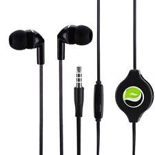 Retractable Earphones Headphones Hands-free Headset 3.5mm w for Phones Tablets