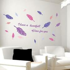 Colorful Feather Wall Sticker Removable Vinyl Bedroom Home Decal Mural Art Decor