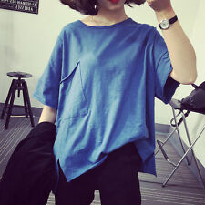 Korean Women Casual Loose Oversize Pocket Solid Short Sleeve T Shirt Blouse Tops