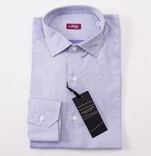 NWT $375 SARTORIA PARTENOPEA Sky Blue Jacquard Cotton Shirt 16 x 35 Classic-Fit
