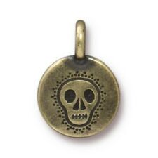 TierraCast Skull Charm, Brass Ox Plated Lead Free Pewter (T433)