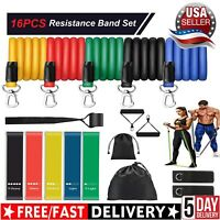 16 PCS Resistance Band Set Yoga Pilates Abs Exercise Fitness Tube Workout Bands